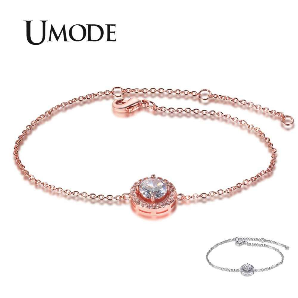 UMODE 2019 New Classic Round CZ Crystal Bracelet for Women White&Rose Gold Link Chain Zircon Bracelet Charm Jewelry Gift AUB0158