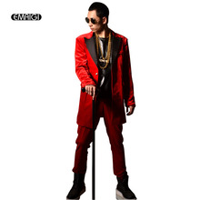 Мужской модный бархатный Повседневный пиджак в стиле ретро, длинный пиджак, мужской костюм в стиле хип-хоп, костюм, сценические костюмы