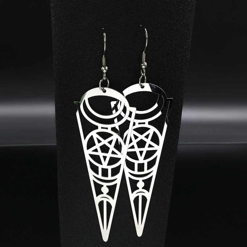 2019 Pentagram Stainless Steel Anting-Anting Wanita Perhiasan Geometri Warna Perak Anting-Anting Perhiasan Boucle D'oreille Longue E612363