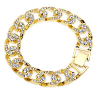 Hip Hop Men Simulated Diamonds Bracelet Cuban Links Chains Gold Silver Plated Bracelet For Bangle Male