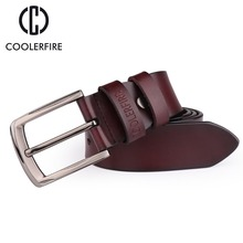 Coolerfire mens cow genuine leather man belt luxury strap male belts for men new fashion vintage pin buckle Designer HQ052