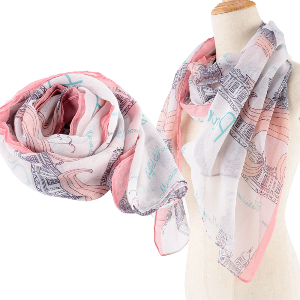 Elegant Women Paris Building Printed Long Pink   Scarf     Wrap   Plaid Autumn Winter Warm Shawl Comfortable Large Silk   Scarves