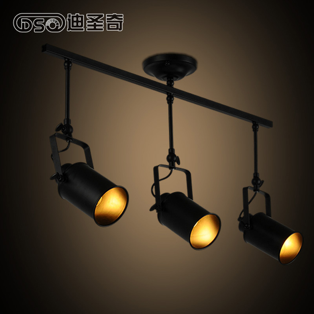 3 Head Loft Style Black Metal Living Room Ceiling Light Industrial Cloth Shop Decoration Light