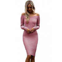 Sexy Long Sleeve Off Shoulder Women Dress Slim Bodycon Dress Autumn Winter Knitted Elastic Sweater Party