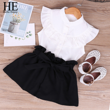 HE Hello Enjoy Summer Girls Clothing Sets Solid Chiffon Sleeveless Tops+Bowknot Shorts Kids clothes Children New