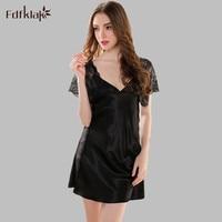 Sexy Sleeping Dress Short Sleeve Silk Summer Dresses For Women Night Shirts Sleepwear Female Nightgown Homewear