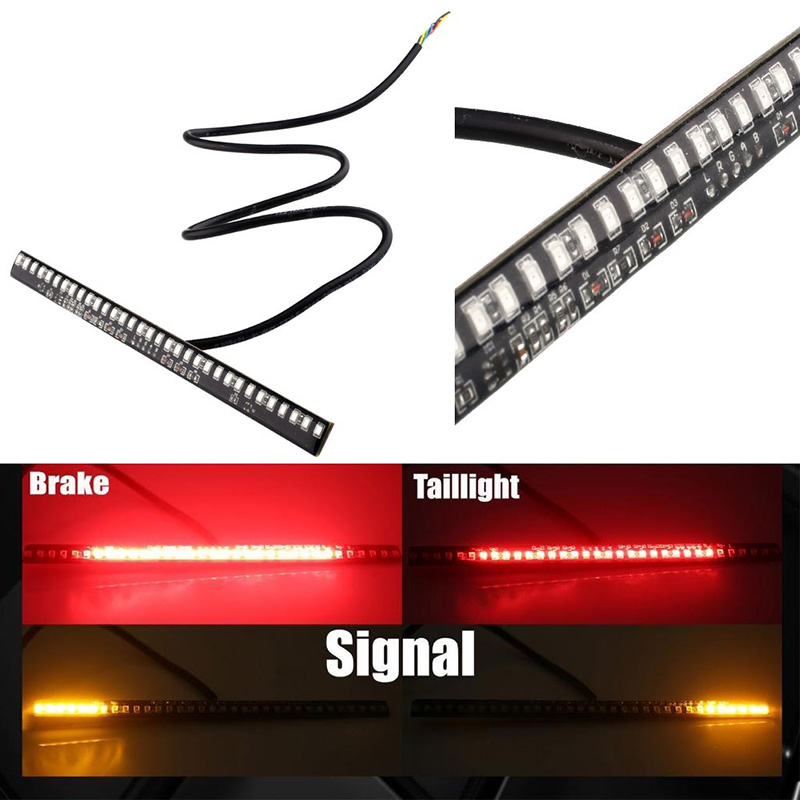 Car Lights 33 SMD LED Motorcycle Light Strip License Plate Lamp Tail Brake Light Turn Signal Indicator Lamp  CSL2017 led motorcycle brake lights turn signal light strip 32 leds license plate light flashing tail stop lights