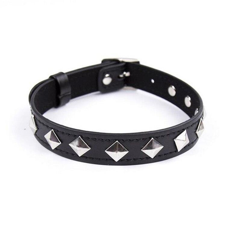 Punk Negro Gay collar de cuero del cuello del corsé atractivo de Bdsm Correa-7390