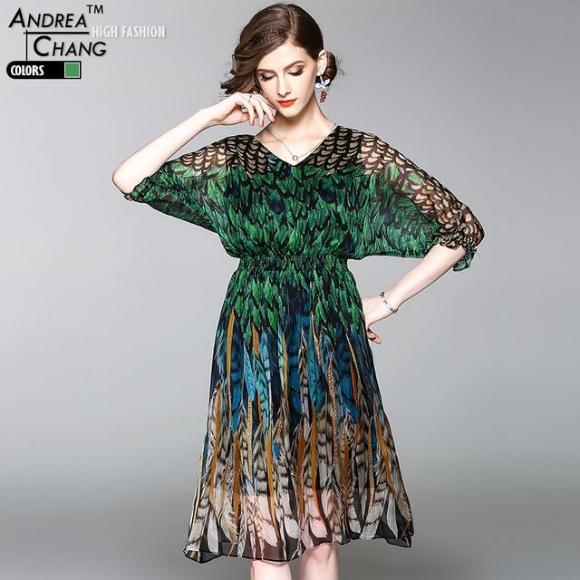 haute qualit printemps et femmes robe motif de plume de paon impression de soie robe chauve. Black Bedroom Furniture Sets. Home Design Ideas