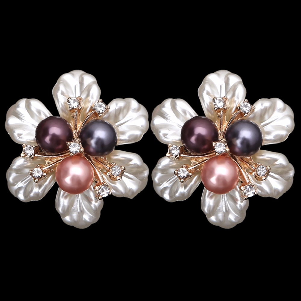 EYKOSI 2Pcs Flower Faux Shell Rhinestone Embellishments Shoe Clips Cloth Patch Applique 8QQ200537 eykosi fashion gold tone rhinestone shoe clips flower glass wedding diamante sparkle