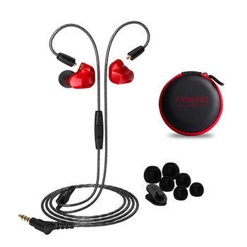 Moxpad X9 3.5mm In ear fone de Ouvido Dual Driver Dinâmico Música de Graves de Alta Fidelidade Fones De Ouvido Fones De Ouvido Esportivos com Microfone Para Smart telefones Com Caixa