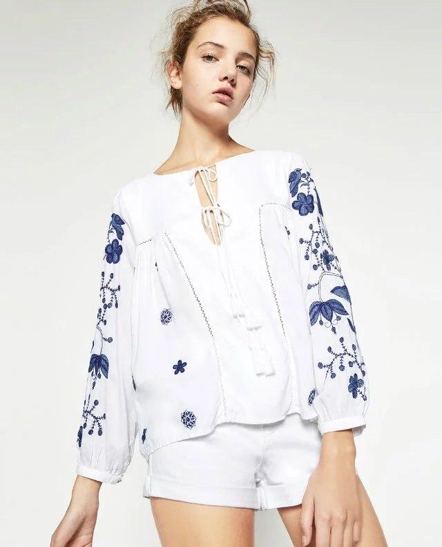 VogaIn ss Mujeres Nuevo Blanco Azul Flores Bordadas Camisas Top Cuello Redondo C