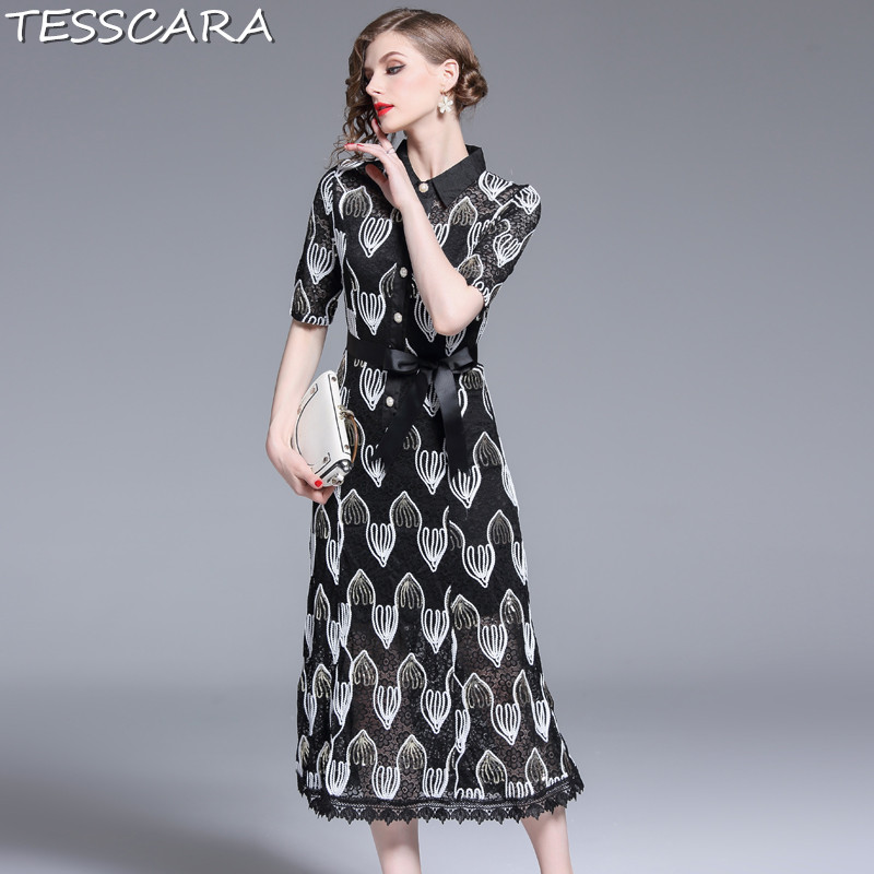 TESSCARA Women Luxury Sequin Lace Dress Shirt Female Office Party Robe Femme Vintage Designer High Quality