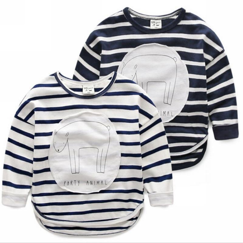 boys long sleeve cotton T-shirt spring childrens clothing Baby cartoon stripe Bottom Shirt hoodies girl sweatshirts wholesale