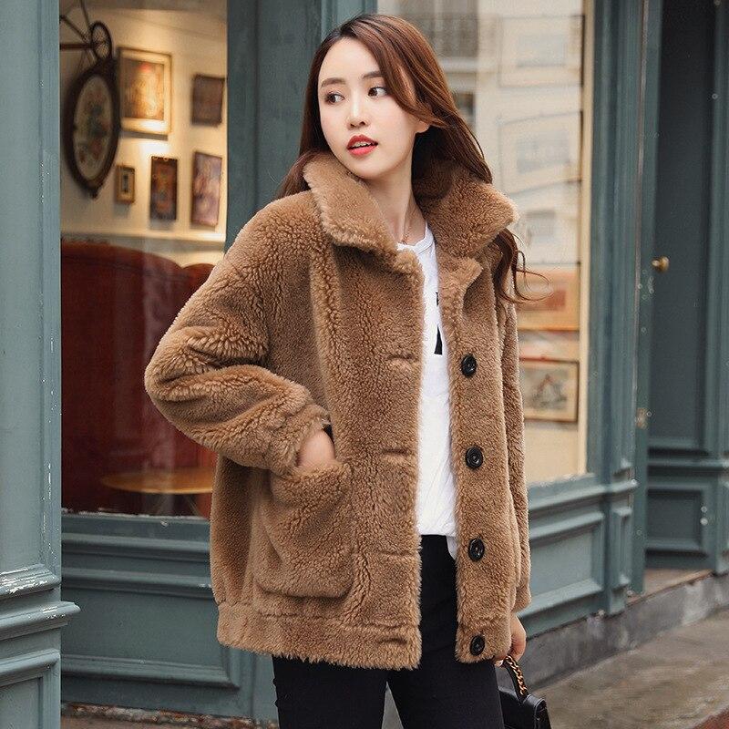 Épaississement D'hiver 2018 Imitation Fourrure Mouton Nouveau Veste Manteau Faux Femme Coton Femmes Laine Vêtements Lâche D'agneau De Velours AwC88Odxq