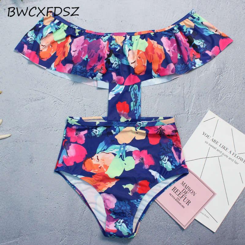 BWCXFDSZ New Ruffle Swimsuit Women Swimwear One Piece Monokini Print Bodysuit High Waist Swimming Bathing Suit Female Beach Wear
