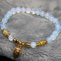 Gold-plated drop pendant  free shipping 6mm round opal moonstone beads bracelet factory outletjewelry making 7.5inch B2132