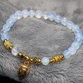 Ouro-banhado a gota pingente frete grátis 6mm rodada opal contas moonstone pulseira fábrica outletjewelry fazendo 7.5 polegadas B2132