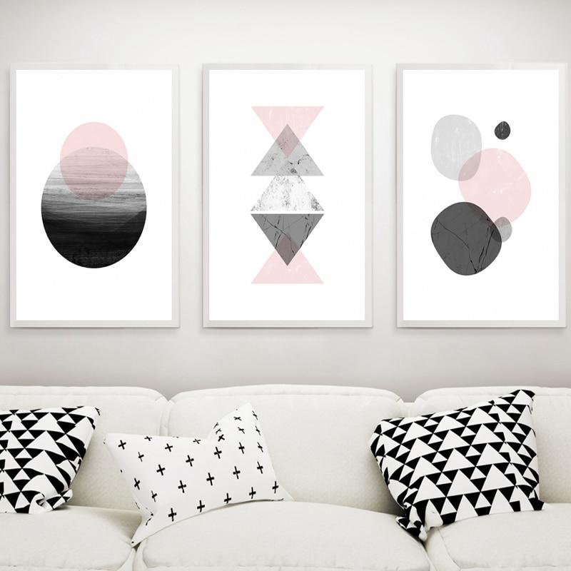 Nordic Geometrie Schwarz Und Weiß Dekoration Malerei Wandbilder Für  Wohnzimmer Leinwand Malerei Nordic Poster Und Drucke