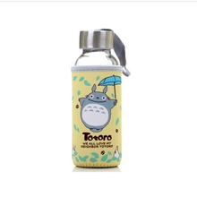 2pcs 300ml Cartoon Lovely Totoro Drinking Cups Coffee Tea Mug sets transparent lid glass water seal portable cup anime stylish 300ml cartoon shaun the sheep shape silicone cup set glass water cup