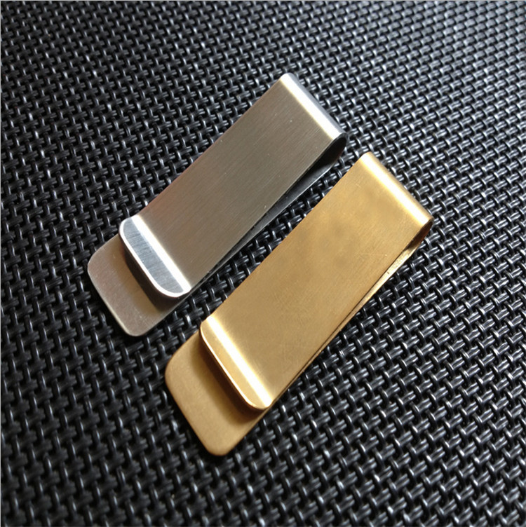200 Pcs Stainless Steel  Money Clip Golden Silver 2 Colors Business Card Credit Card Holder Cash Wallet
