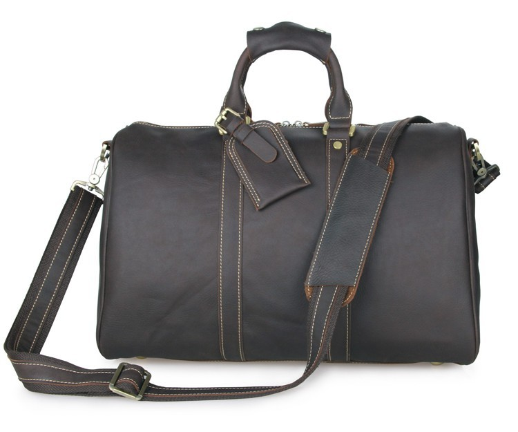 J.M.D Imported Genuine Excellent Vintage Leather Tavel Totes Fashion Laptop Bag Big Capacity Travel Duffle Bag 7077Q