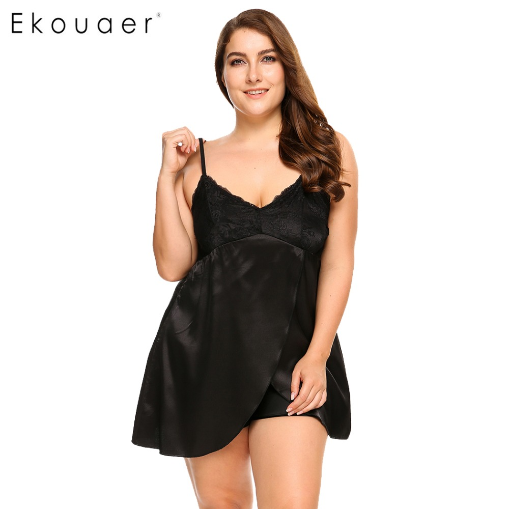 Ekouaer Brand Plus Size Sleepwear Split Lace Satin Chemises Nightgown Solid Spaghetti Strap Home Dress Patchwork Nightwear L-4XL