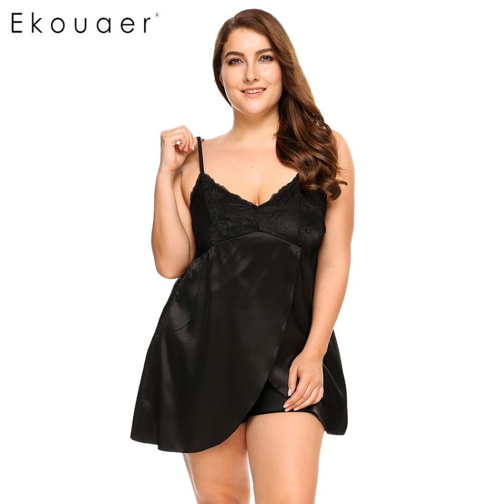 445b7a452e48 Ekouaer Brand Plus Size Sleepwear Split Lace Satin Chemises Nightgown Solid  Spaghetti Strap Home Dress Patchwork