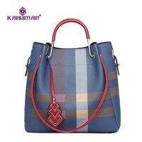 Роскошная Брендовая женская сумка из кожи женская сумка-мешок в клетку полосатая сумка через плечо сумки с ромбовидной строчкой Сумка повс...