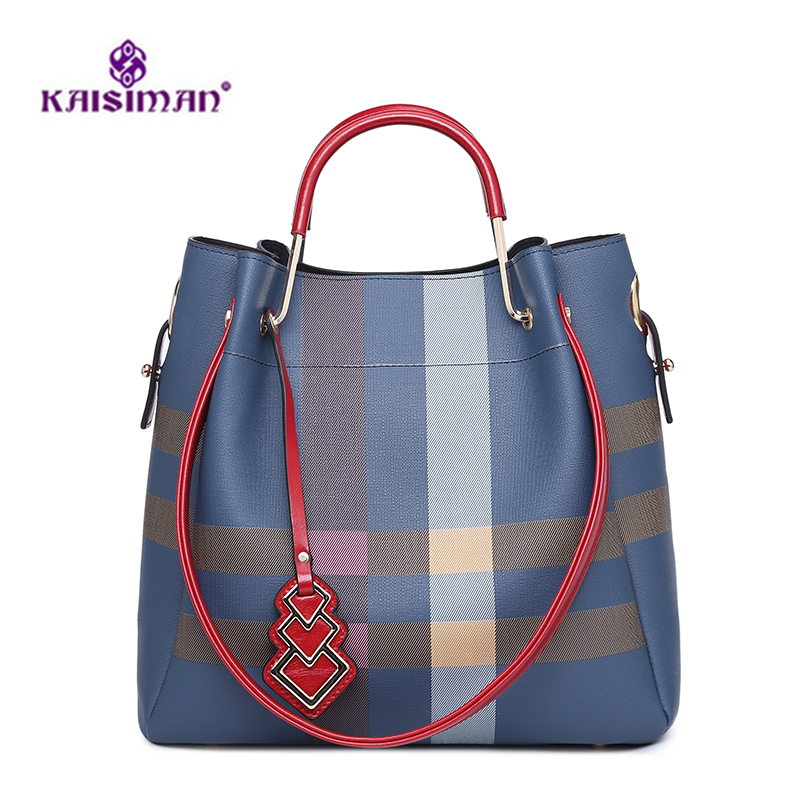Luxury Brand Women Bag Leather Women Bucket Bag Plaid Stripe Crossbody Bags Diamond Lattice Handbag Casual Women Big Tote Bolsas stylish multicolor stripe pattern bucket hat for women