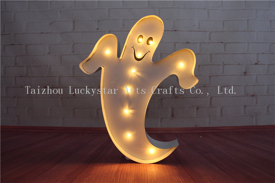 Celebrate Halloween Metal LED Ghost shape Marquee Sign LIGHT UP signs night light coffee BAR Indoor Deration free shipping metal bar led marquee sign light up vintage signs light bar indoor deration page 2