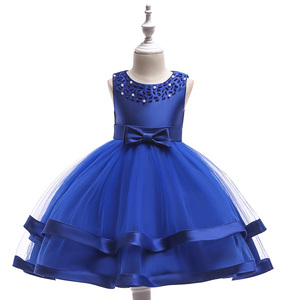 Image 1 - Retail Children Girl Summer Dresses With Bow Kids Girl beaded Wedding Dress For Birthday 6 Colors Girl Clothes L5017