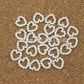 100 unids/lote 11mm * 11mm Corazón Posterior Plana Blanco Simulado Perlas Perlas Para La Decoración Del Teléfono DIY Material de Joyería F1521
