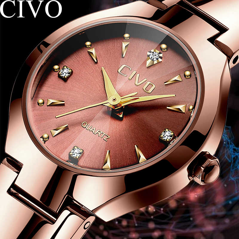 CIVO Fashion Elegant Womens Watches Stainless Steel Band Men Women Couple Watch Clock Waterproof Luxury Slim Ladies Wrist Watch