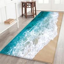 Alfombra de baño con estampado marino de 60x180 CM, felpudo antideslizante para pasillo, tapete de cocina con agua absorbente