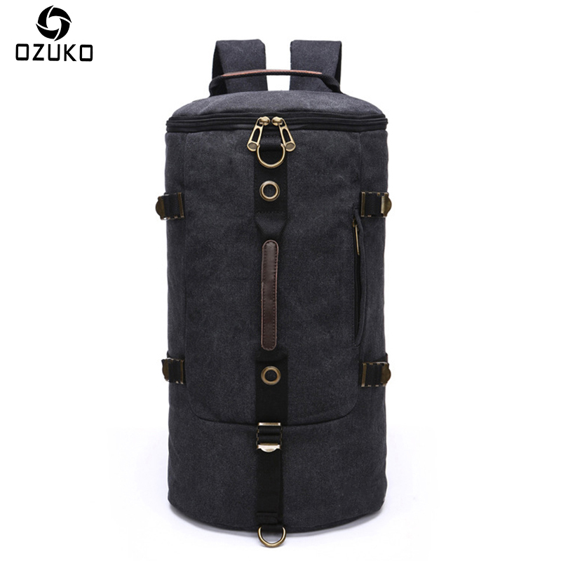 2018 OZUKO New Arrival Large Capacity Travel Canvas Bag Men's Backpack Cylinder Canvas Rucksack Fashion Men Women School Bags new fashion women and men backpack vintage bag canvas school bags large capcity rucksack travel double shoulder bag