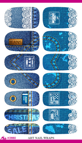 Wholesale Water Transfer Christmas Nail Sticker Personality Jean