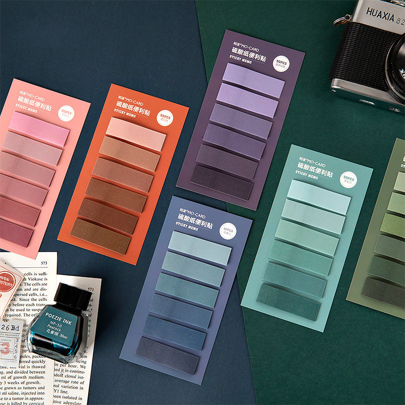 90PCS Retro Colors Sticky Notes Creative Mini Slim Paper Note Gift