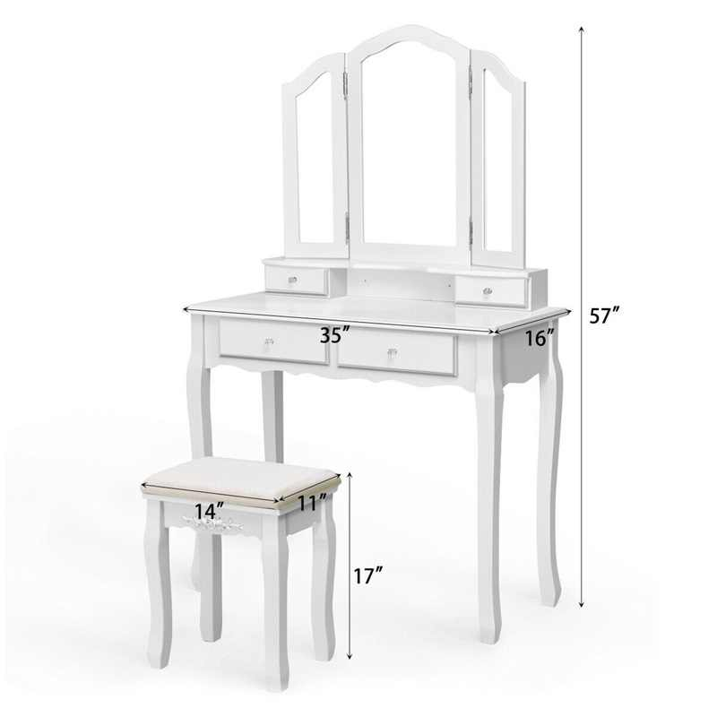 Tri składane lusterko w łazience stół taboret zestaw z 4 szufladami meble do sypialni komody HW55563