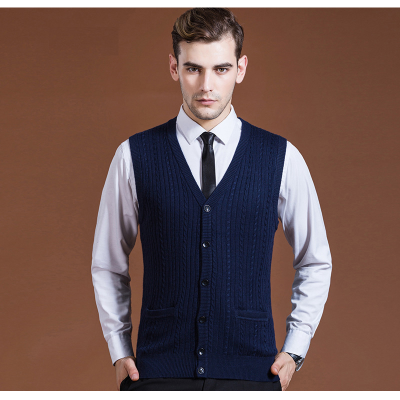 Men's Casual Basic Knit Vest Buttons Down Fashion Clothing New Wool Sweater Cardigan Sleeveless V Neck for Autumn Winter