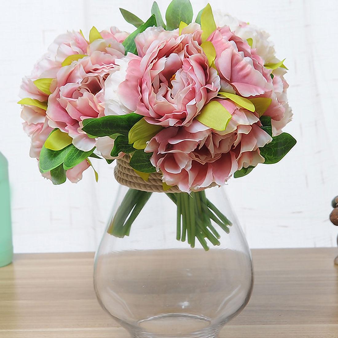 Valentines Day Silk Flower 6 Heads Peony Dahlias Artificial Flowers