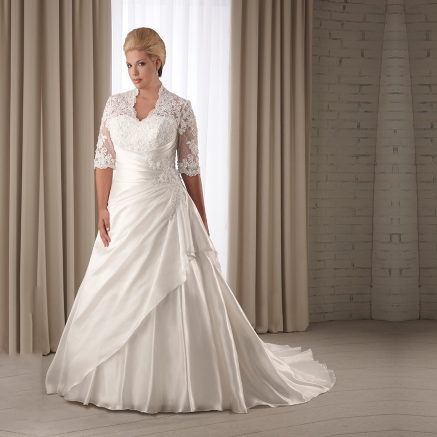 Vintage Ivory Plus Size Wedding Dresses With Sleeves Keyhole Back ...