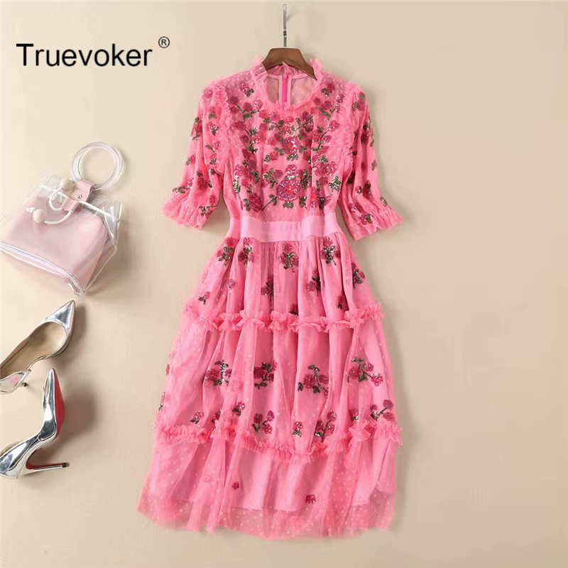 Truevoker Europe Designer Vestido Women's High Quality Gorgeous Sequins Rose Pink Lace Knee Length Robe Femme Ete Party Dress