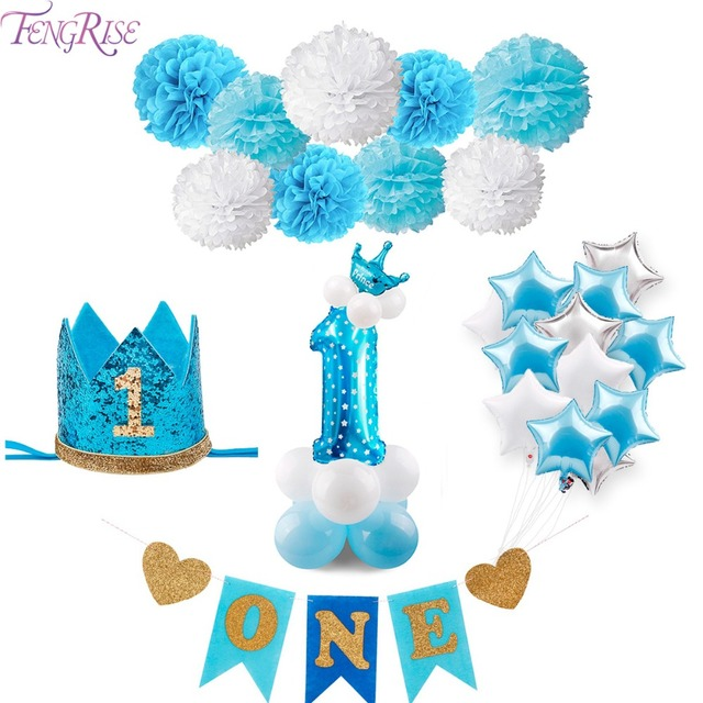 FENGRISE Blue 1st Birthday Party Decorations One Year Baby Balloons Its A Boy Royal