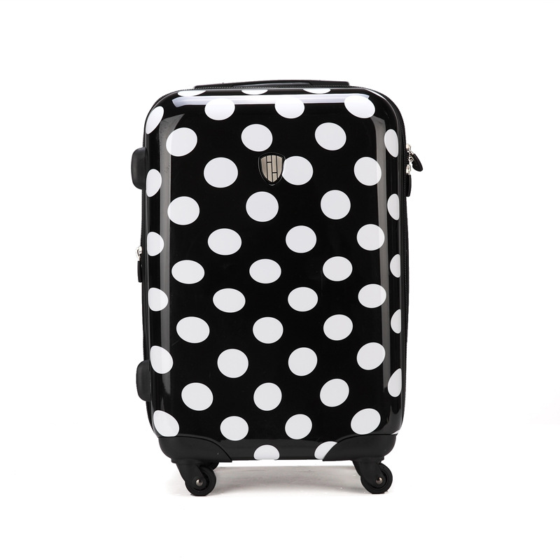 20 inch rolling luggage black and white wave point trolley case universal wheel suitcase boarding box20 inch rolling luggage black and white wave point trolley case universal wheel suitcase boarding box