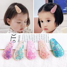 2019 New Arrival 5 Pcs Allow Children Shiny Sequin Cotton Water Drop Hairgrips Baby Hairpins Girls Hair Accessories Clip