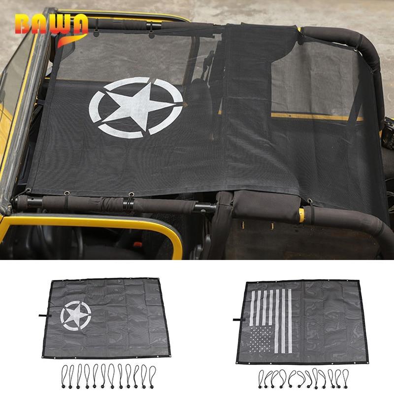 BAWA bâche de voiture pour Jeep Wrangler TJ 1997-2006 PVC parasol toit maille résistant aux UV Protection accessoires pour Wrangler tj 4 porte