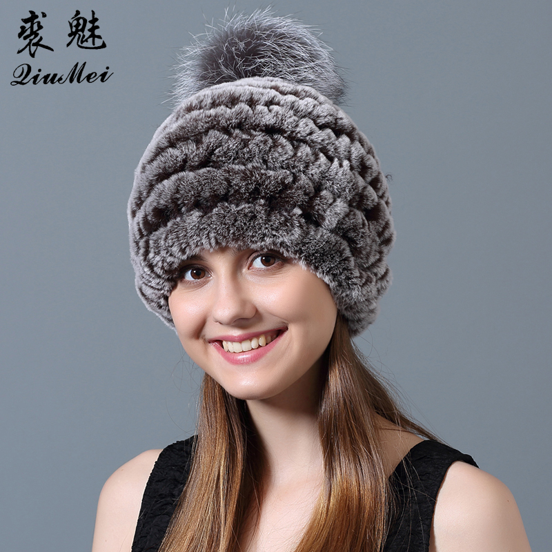 QiuMei Women Winter Hats Real Fur Rex Pompoms Striped Casual Cap Female Rabbit Fur Hat Beanie Genuine Fur Brand Hat Russian цена 2017