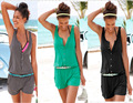 2017 summer  beach playsuits casual regular jumpsuit women's sleeveless Tank Button Cardigan Ladies Tops