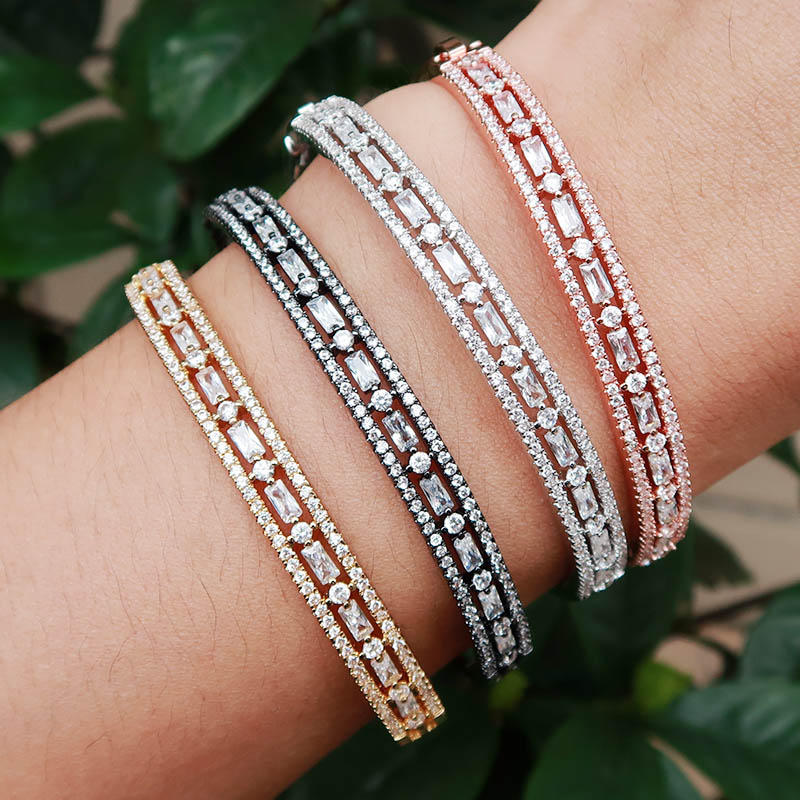 new Fashion AAA cubic zirconia Baguette bracelet Micro Pave Setting bangle copper base with Gold-Color